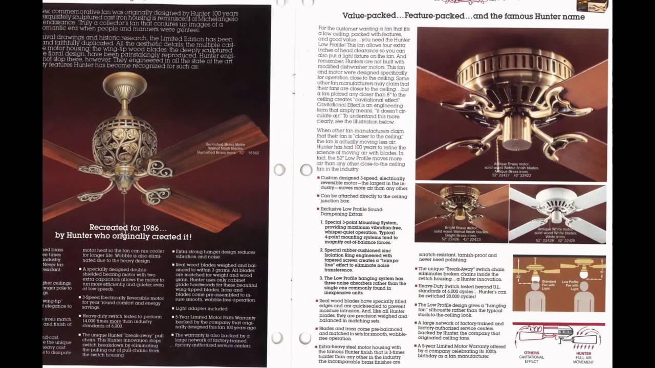 Hunter Ceiling Fan Catalog From 1986 Youtube