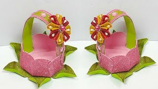 How to Make Lotus shape Basket from Glitter Foam sheet at home| valentine gift idea
