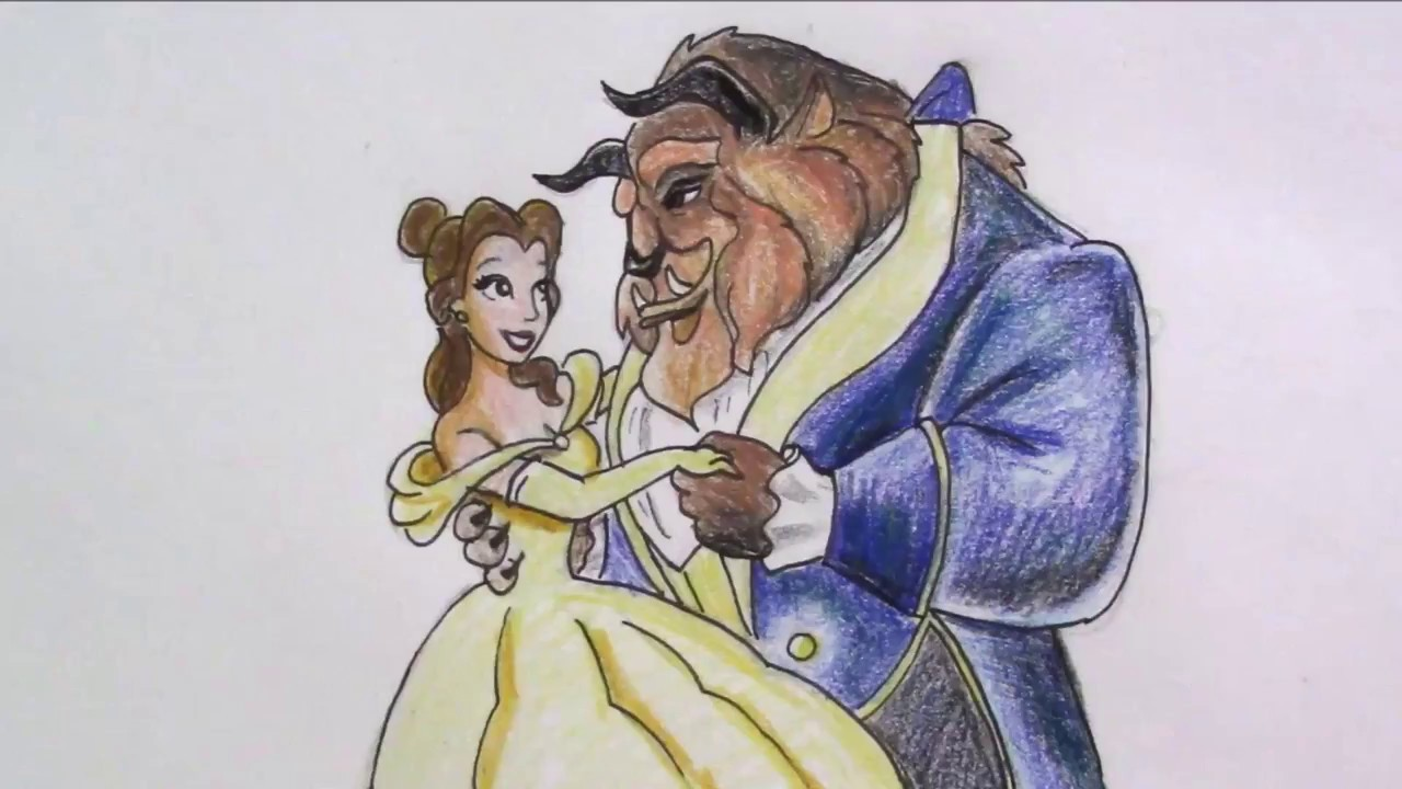 How to draw Beauty and the Beast - YouTube