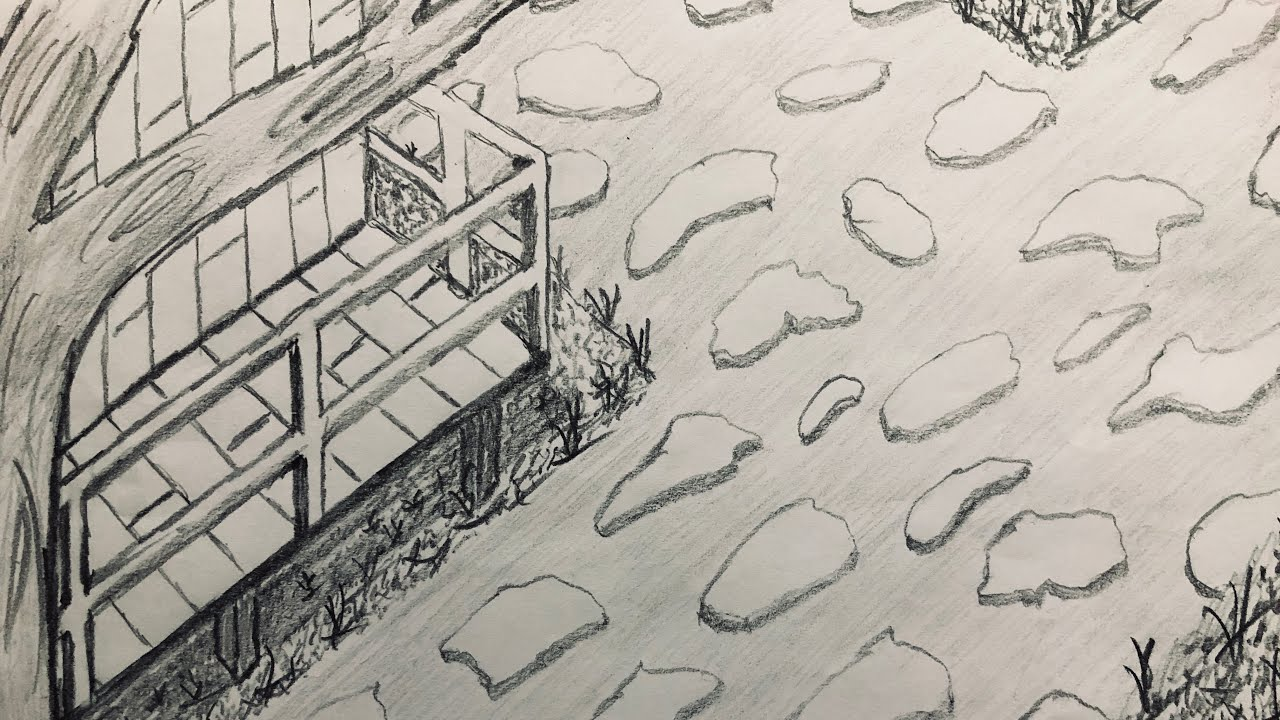 Taş Yol Ağaç Ve Ev çizimi Wood And Home Drawing Youtube