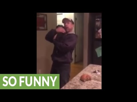 Dad has awesome reaction to new puppy surprise