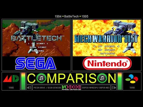 BattleTech vs MechWarrior 3050 (Sega Genesis vs SNES) Side by Side Comparison | VCDECIDE |