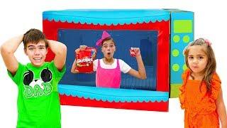 Nastya and Artem pretend play with toy microwave Nastya Artem Mia