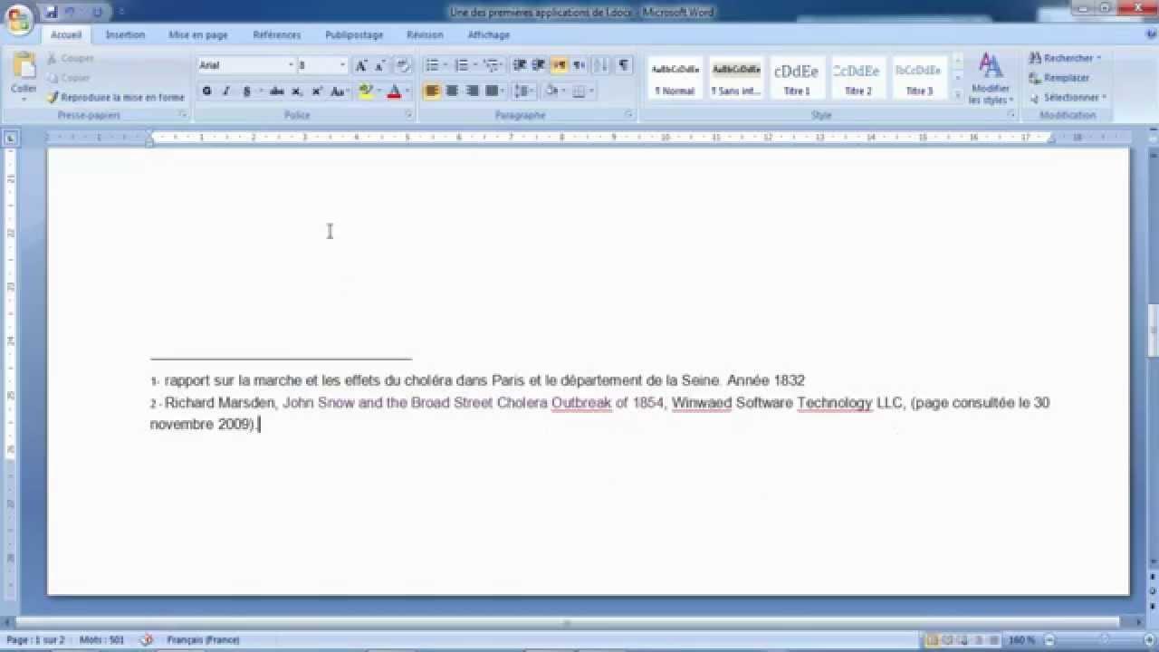 comment ins u00e9rer une note de bas de page dans word 2007