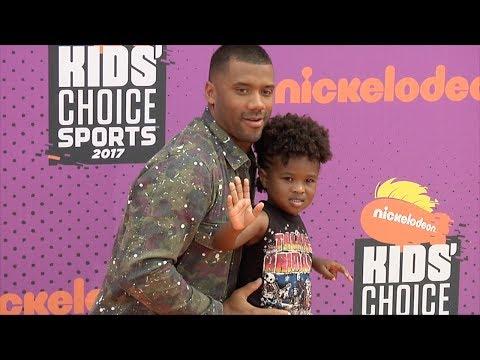 Russell Wilson with Future Jr 2017 Kids' Choice Sports Awards Orange Carpet
