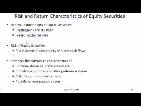 2017 Level I CFA Equity: Equity Securities - Summary