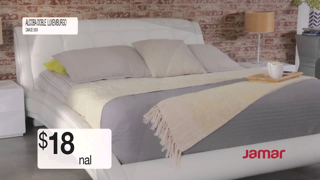 Comercial muebles jamar alcoba doble luxemburgo youtube for Mueble jamar