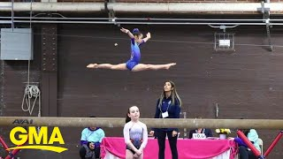 Star gymnast Katelyn Ohashi keeps young athletes on point with a quarantine workout l GMA Digital