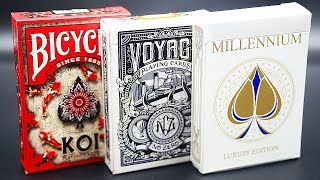 Bicycle Koi & Voyage Black & Millennium Playing Cards Review [HD]