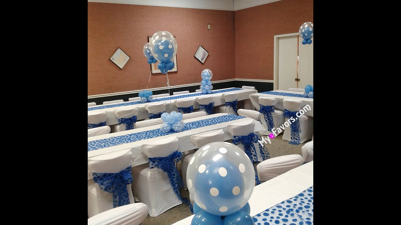 how to make a triple tier double stuffed balloon centerpiece blue