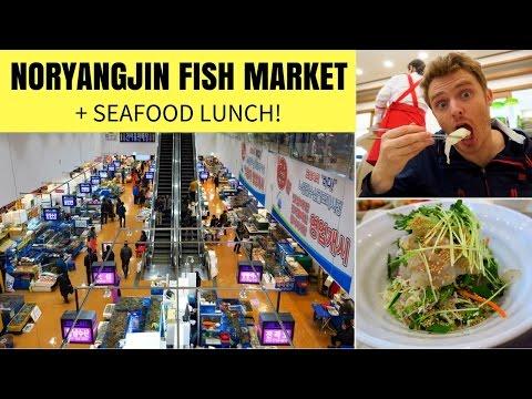 Visiting Noryangjin Fish Market (노량진수산시장) and eating Korean Food (회덮밥 - 초밥) in Seoul, Korea