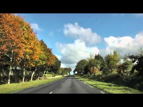 Driving Through Minihy-Tréguier On The D8, Brittany, France 28th October 2011