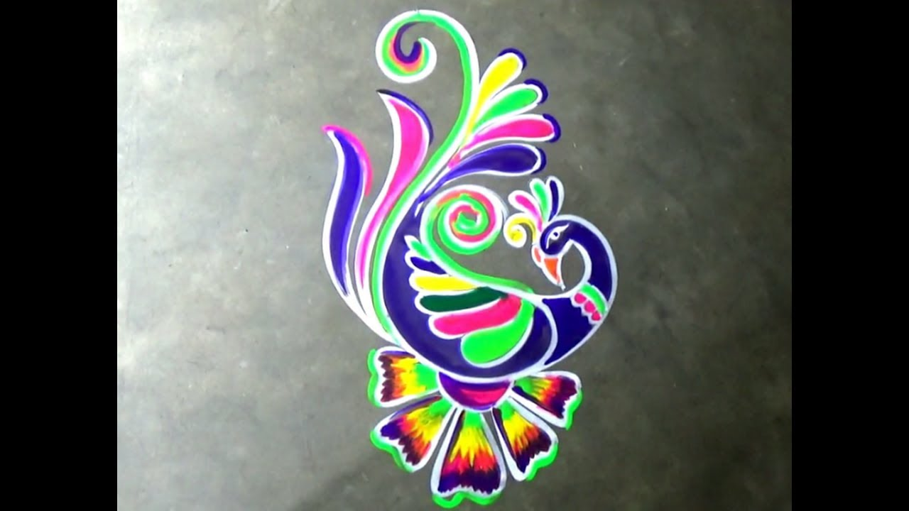 Innovative Peacock rangoli designs,Freehand Peacock Kolam designs ... for peacock rangoli designs for diwali free hand  56mzq