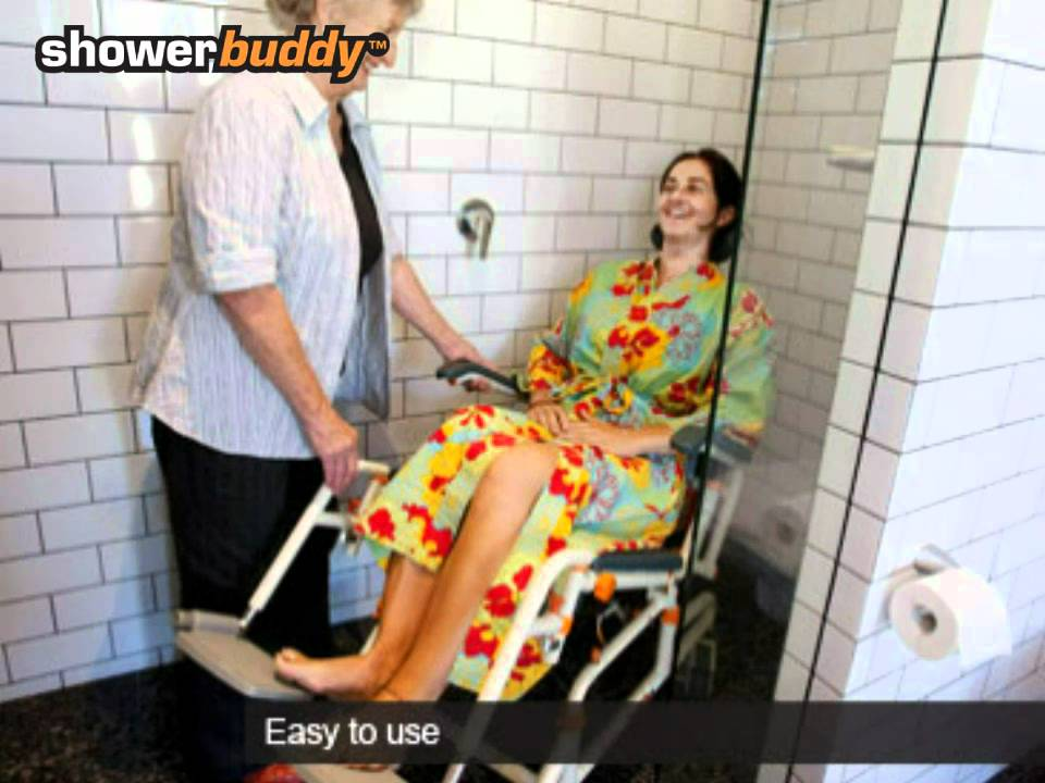 Shower chair - The Roll-inbuddy by Showerbuddy Showerchairs. - YouTube