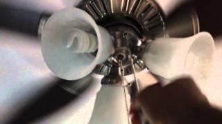 "46"" Hunter Atkinson Brushed Nickel Ceiling Fan in My Bedroom - AaronTheEagle1 Video"