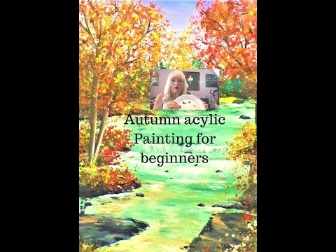 How to paint an Autumn Landscape easy sky, tree's, and water Acrylic painting Part 1 beginners
