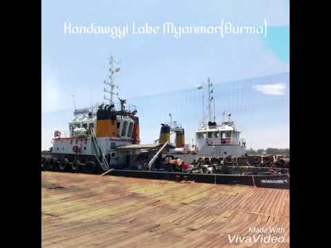 Myanmar Kandawgyi lake and Yangon River Port 2018