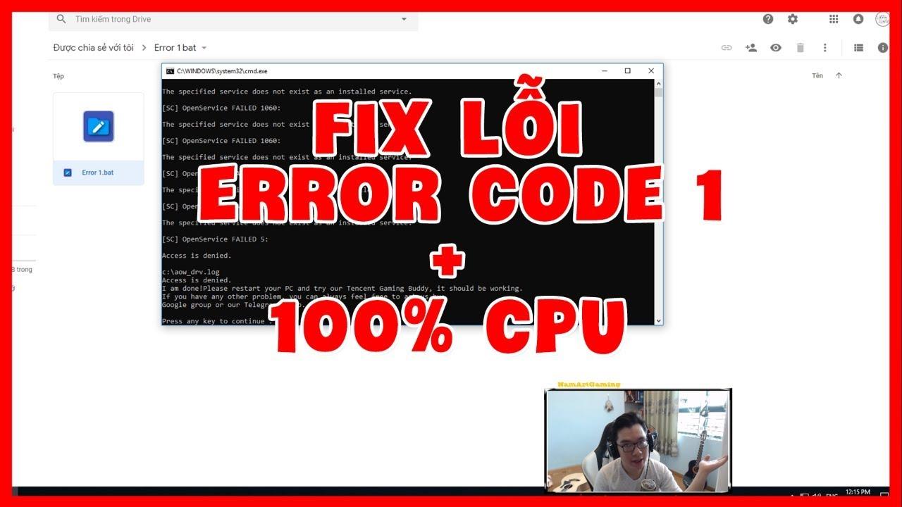 Hướng Dẫn Fix Lỗi Error Code 1 Và Lỗi CPU 100% PUBG Mobile Tencent