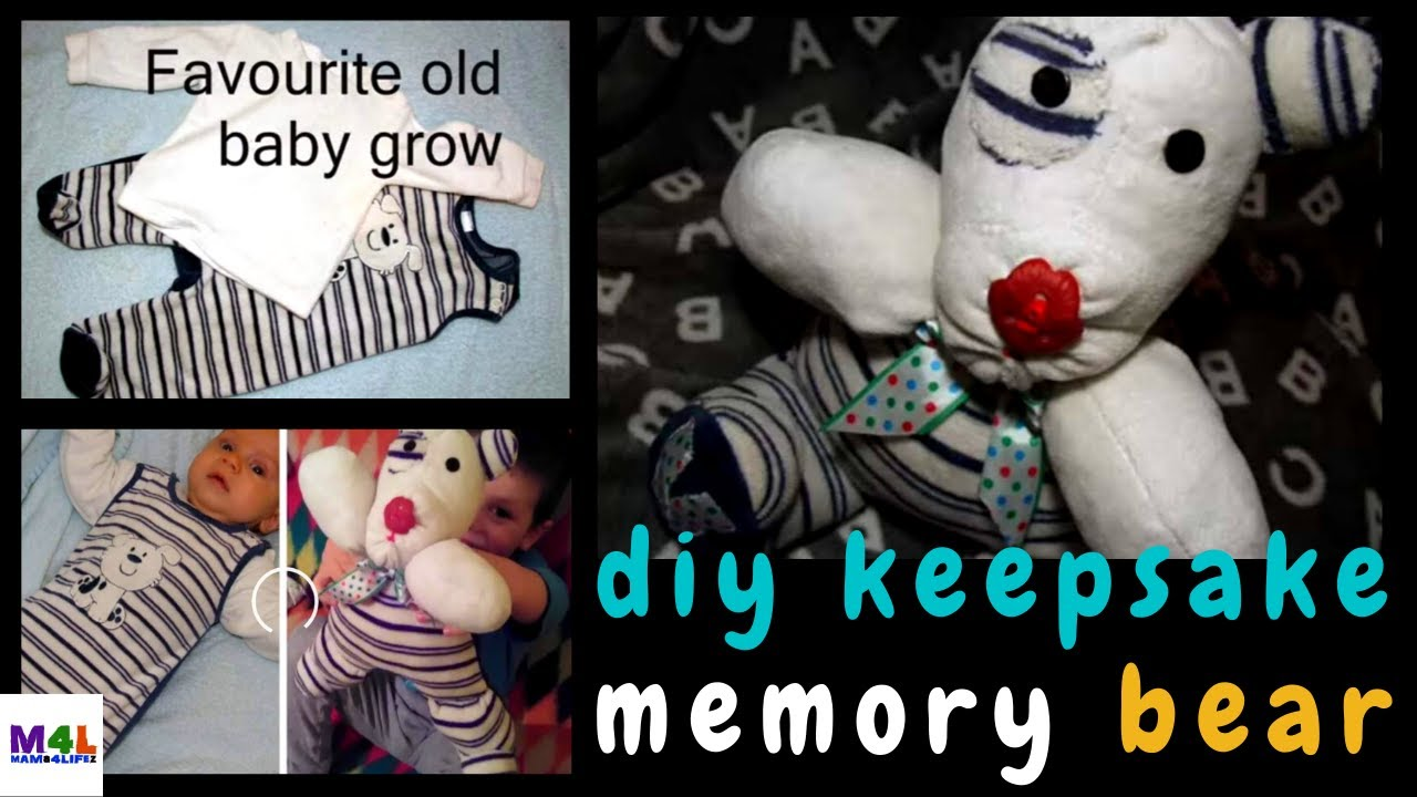 Cute and easy DIY memory bear tutorial made from old baby grow. (up-cycle  clothes in 2018) 2ae88b863