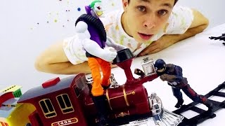 ДЖОКЕР против супергероя КАПИТАНА АМЕРИКА! Интересное видео для мальчиков: поезда и супергерои