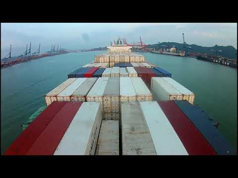 Container Ship . The passage through the Pacific