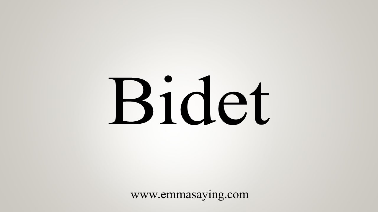 How To Say Bidet