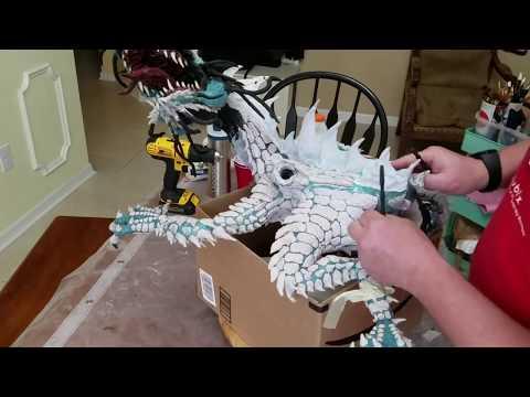 Paper Mache Green Dragon Full Body