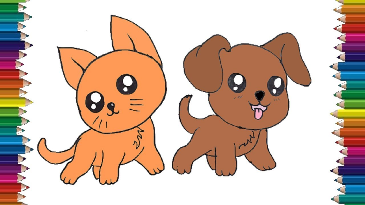 How To Draw Cats And Dogs Cute And Easy Draw Animals Coloring