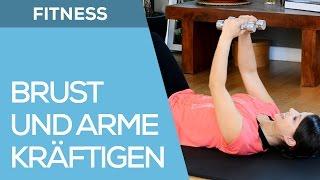 10 min. Anfänger Fitnesstraining für Frauen - Brust & Arme mit Hanteln - Fit mit Anna - HD