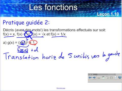 Leçon 1.10 - La translation horizontale ou verticale d'un graphique d'une fonction