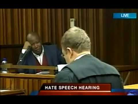 Malema - Handles a Lawyer in court during Hate speech case