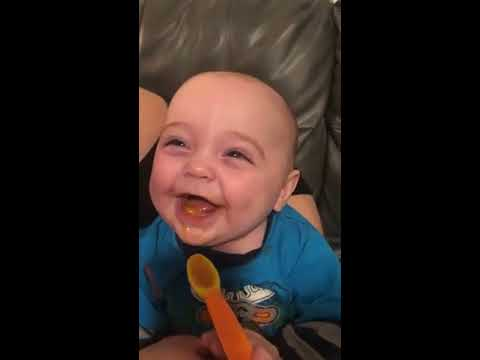 Dave Roberts - Baby Happy About Trying Solid Food For The First Time