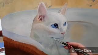 """Живопись маслом """"Белоснежка """". Мастер-класс. Белая кошка на белом фоне."""