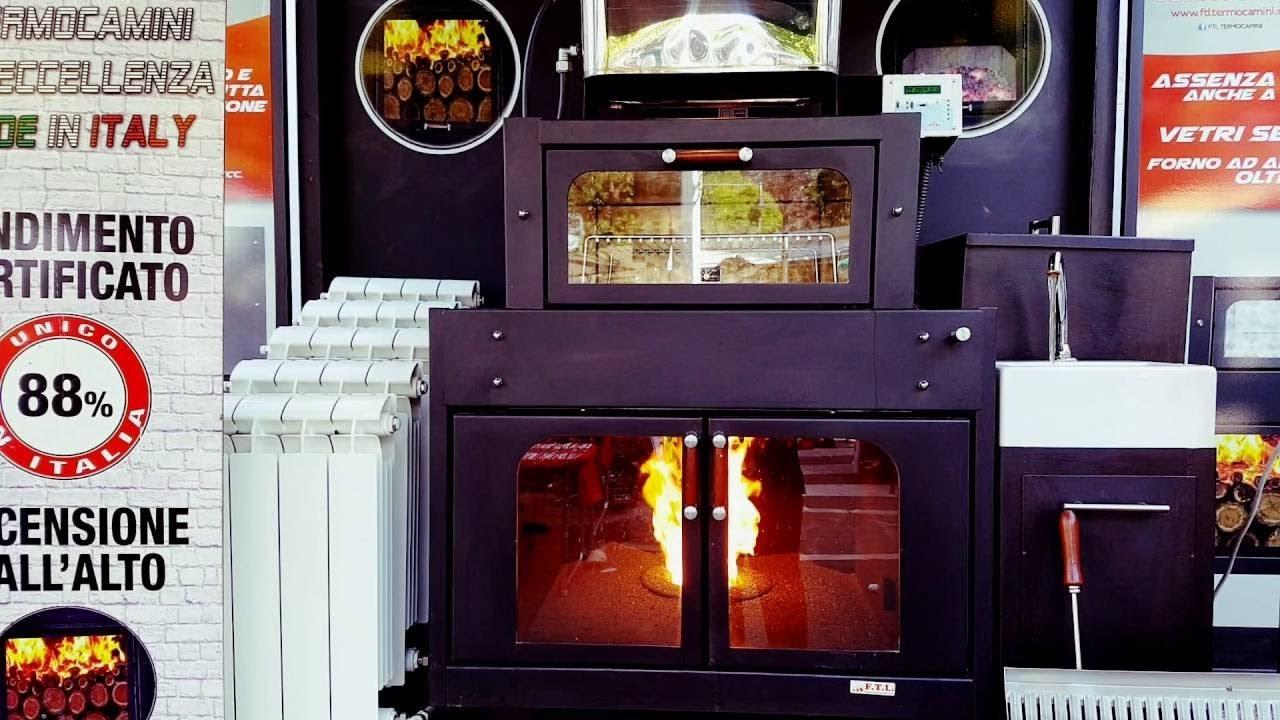 Termocamino ftl con forno genius legna pellet youtube for Ftl termocamini
