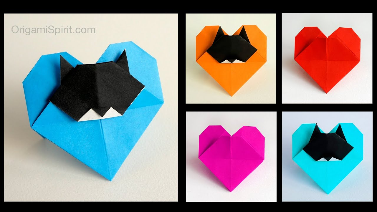 origami cat love amor de gato youtube