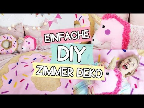 DIY Pinterest Zimmer Deko: Einhorn Kissen 🦄, Donut Decke 🍩 & Girlande selber machen!