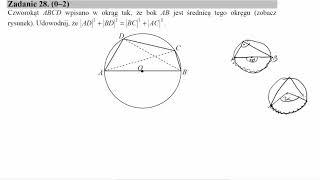 Czworokąt ABCD wpisano w okrąg tak, że bok AB jest średnicą tego okręgu zobacz rysunek  Udowodnij, ż