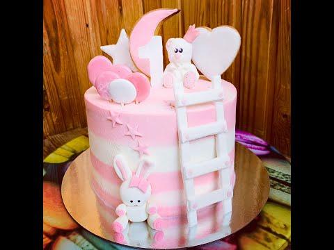 Торт с лесенкой. Как украсить тортик на 1 годик.