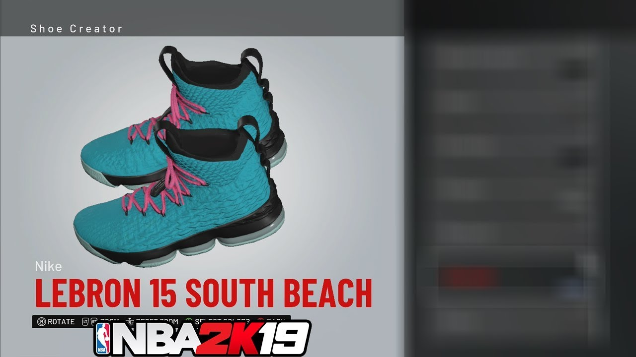 6fb1dbeffec926 NBA 2K19 Shoe Creator LeBron 15 South Beach 🔌🔥👟 - YouTube