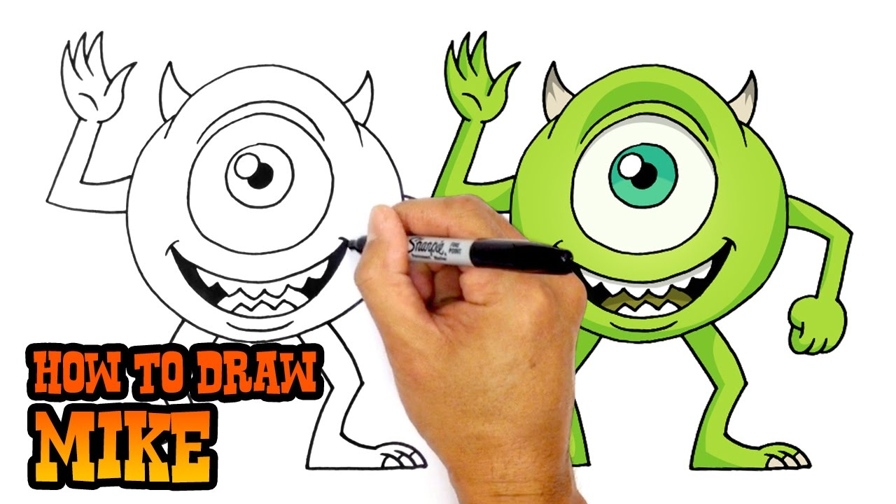 How To Draw Mike Monsters Inc Youtube