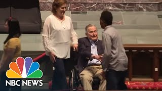George H. W. Bush Shakes Mourners Hands As Barbara Buss Lies In Repose | NBC News thumbnail