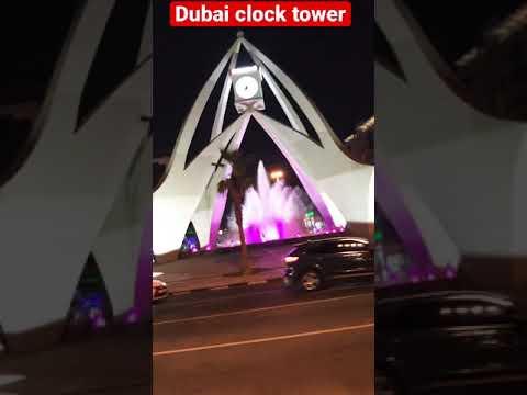 Dubai clock tower night time