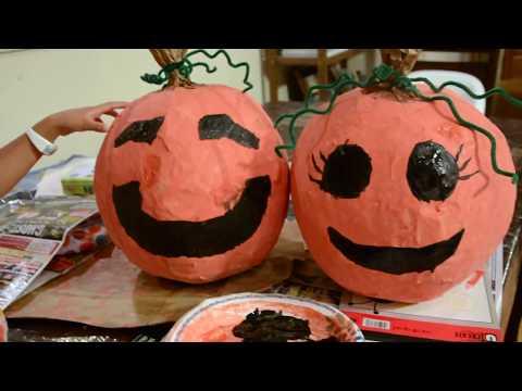 TheMeowMeow&PuddingShow #9 Paper Mache Pumpkins!!!!