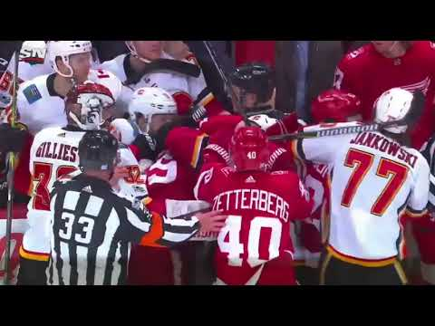 Huge Fight Between The Flames And Red Wings