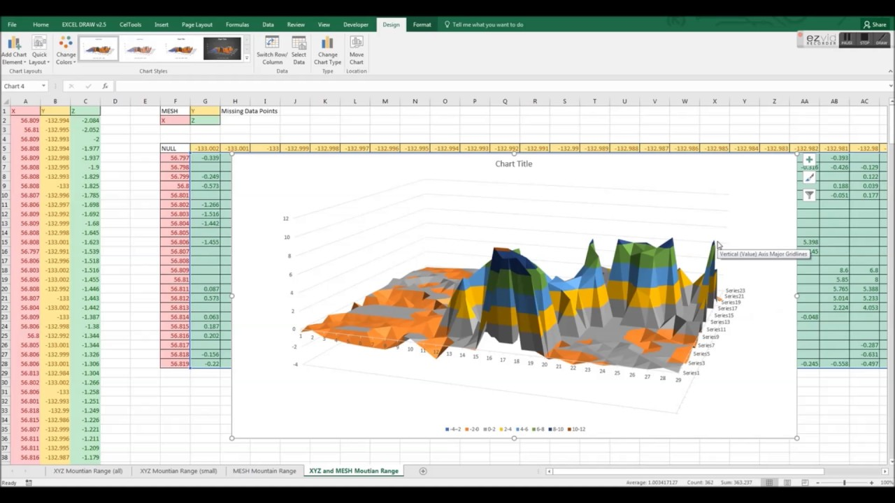 X Y Z into 3D Surface Graph in Microsoft Excel with XYZ Mesh v4