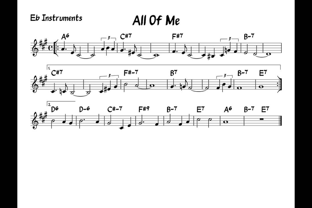 All Music Chords saxophone solo sheet music : All of me - Play alond - Eb version - YouTube