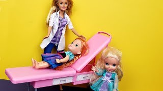 At the Doctor ! Elsa and Anna toddlers  - One is sick - Barbie helps