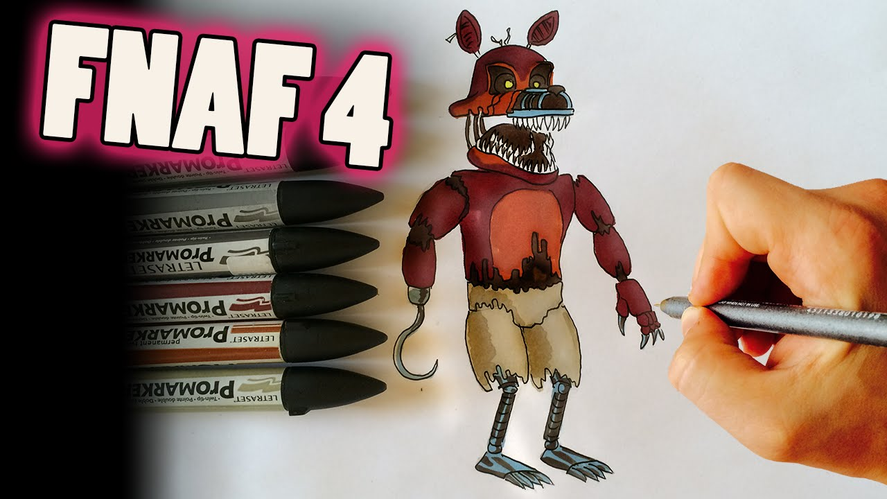 How To Draw Nightmare Foxy From Fnaf 4 Step By Step