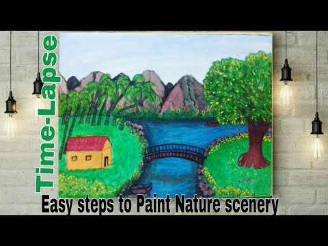 Time-Lapse(fast) -Watercolor Painting – Landscape Scenery morning view by yogesh nikam