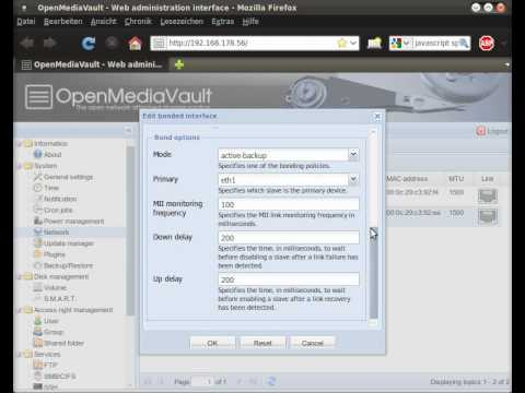 OpenMediaVault - Network interface bonding